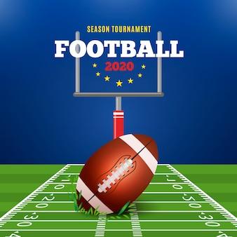 緑の野原でリアルなスタイルのアメリカンフットボール