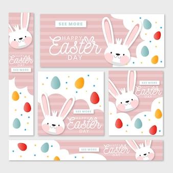 Плоский дизайн баннера на пасху с кроликами и красочными яйцами