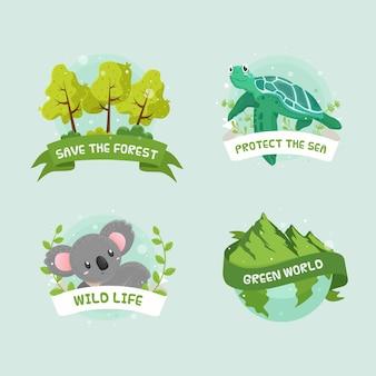 手描きのエコロジーバッジ