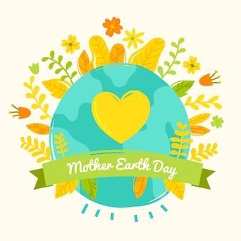 手描きの母なる地球の日