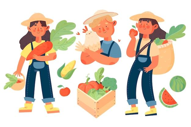 Люди органического земледелия с концепцией овощей