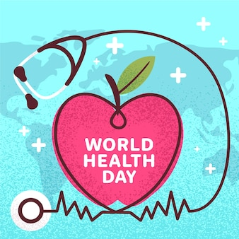 世界保健デーの聴診器と心の手描き