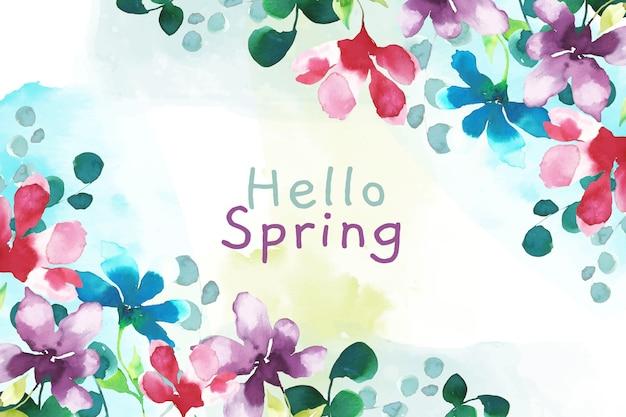 こんにちは春水彩背景