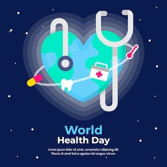 世界保健デーのフラットなデザインの背景