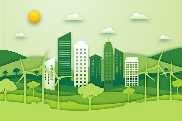 Экологическая концепция города в бумажном стиле
