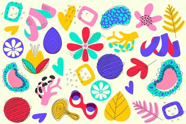手描きの抽象的な有機図形のスクリーンセーバー