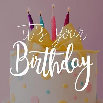 カラフルな誕生日レタリングの願い