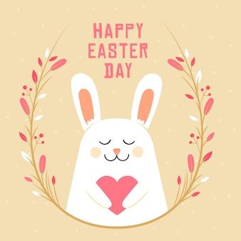 Плоский дизайн счастливого пасхального дня фон с кроликом