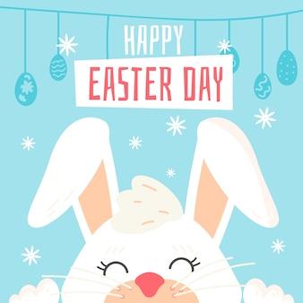 Плоский дизайн фона счастливого пасхального дня с кроликом