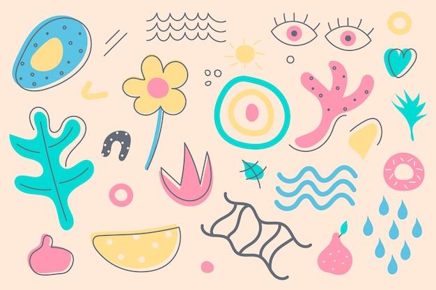 手描きの抽象的な有機的な形の壁紙