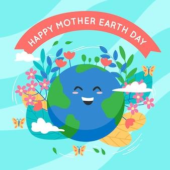 Плоский дизайн тема празднования дня матери-земли