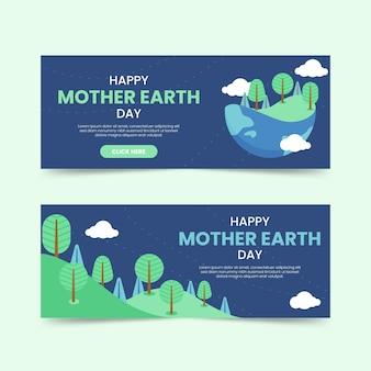 Концепция коллекции баннеров день матери-земли
