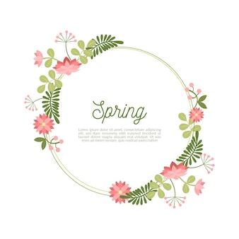 手描きの春の花のフレーム