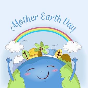 Нарисованная от руки тема дня матери-земли