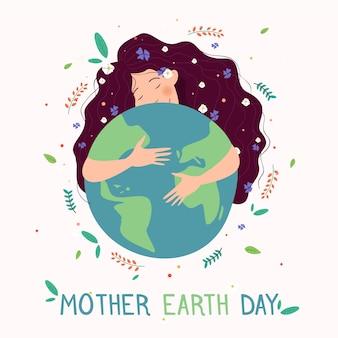Плоский дизайн празднования дня матери-земли