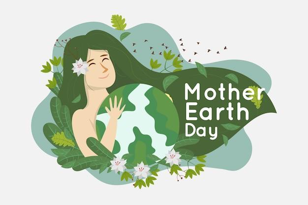 Плоский дизайн день матери-земли