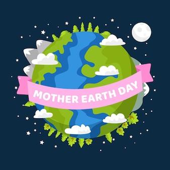 母なる地球の日の壁紙フラットデザイン
