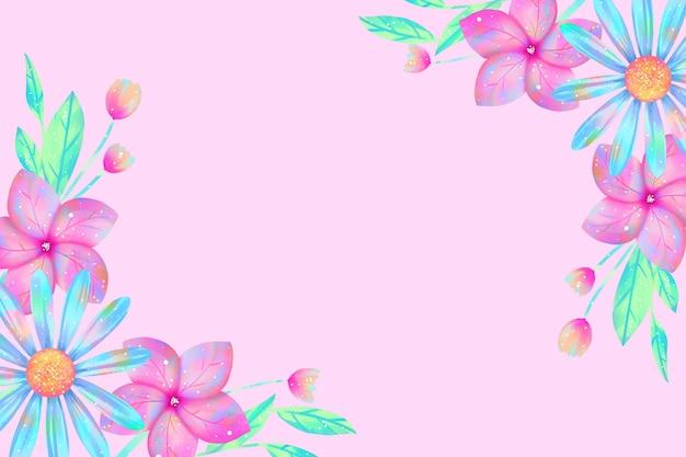 パステルカラーコンセプトの水彩花の壁紙