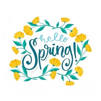 こんにちは春のレタリング