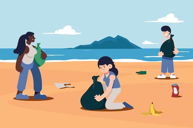 Люди, уборка пляжа рисованной иллюстрации