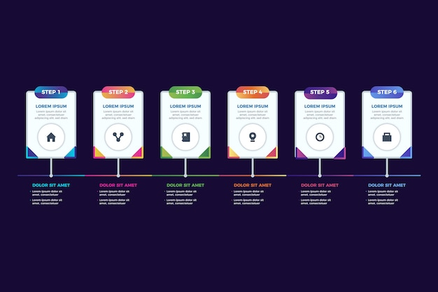 Шаблон градиентных шагов инфографики