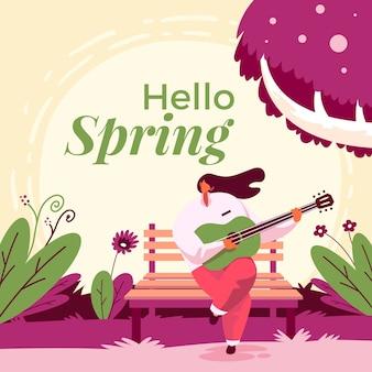 こんにちは、ギターを持つ女性と春の背景