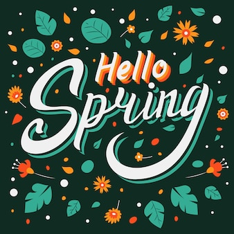 こんにちは春の花をレタリング