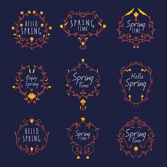 フラットなデザインの春ラベルコレクション