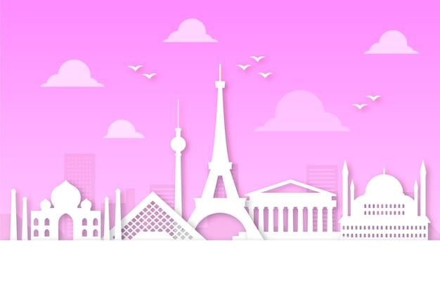 Розовый горизонт в стиле бумаги
