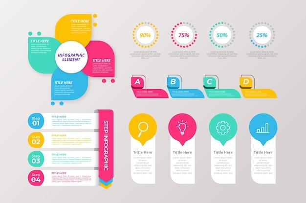 Концепция шаблона коллекции инфографики элемент