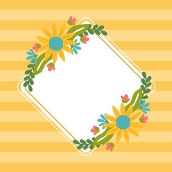 Плоская весенняя цветочная рамка