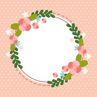 春の花のフレームのフラットなデザイン