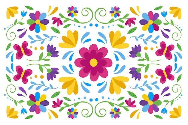 花とカラフルなメキシコの背景