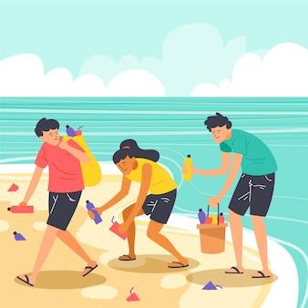 Люди убирают пляж от мусора