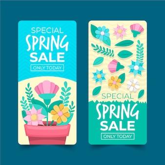 フラットなデザインの春販売バナーコレクションデザイン