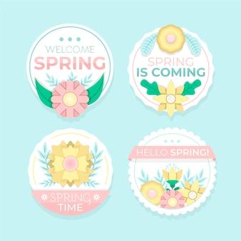 フラットなデザインの春ラベルコレクションデザイン