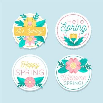 フラットなデザインの春ラベルコレクションテーマ