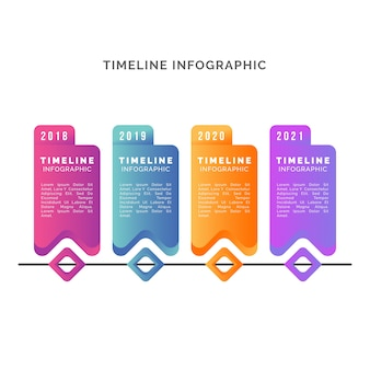 グラデーションテンプレートタイムラインインフォグラフィック