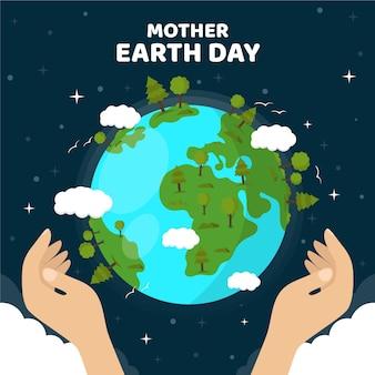 День матери земли фон плоский дизайн