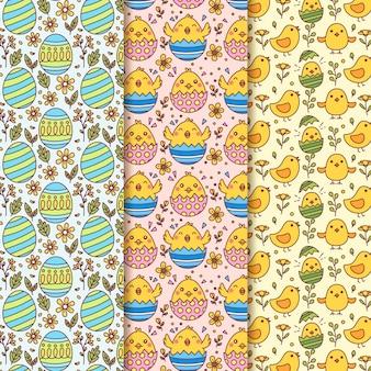 卵と鶏と手描き下ろしイースターシームレスパターン