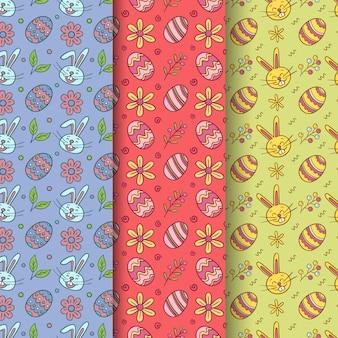 花とウサギと手描き下ろしイースターシームレスパターン