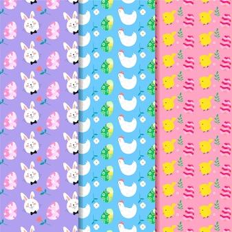 鶏と鶏のフラットデザインイースターシームレスパターン