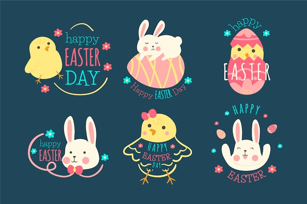 Коллекция счастливого пасхального дня этикетки плоский дизайн