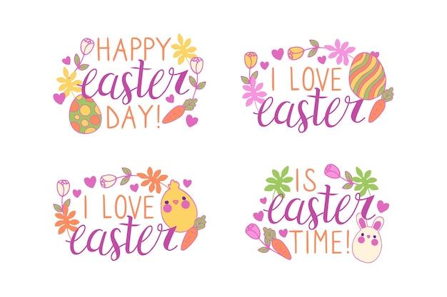 Рисованной пасхальный день надписи значок с яйцами