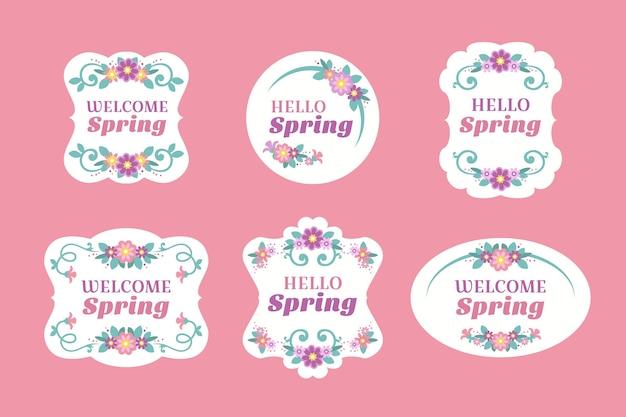 花のフレームとフラットなデザイン春ラベル