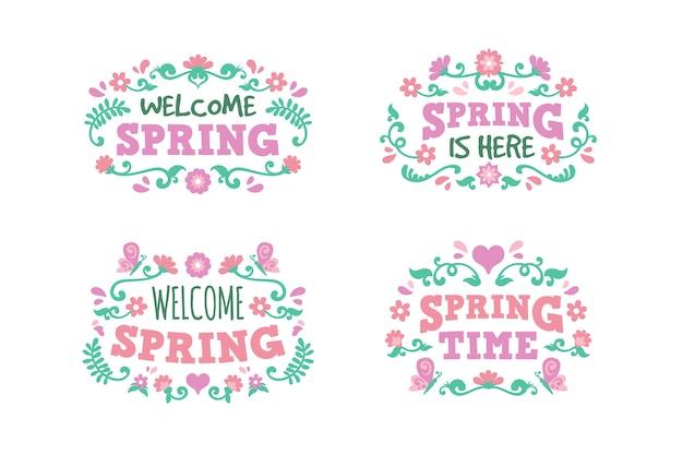 Плоский дизайн привет весенний сезон значок