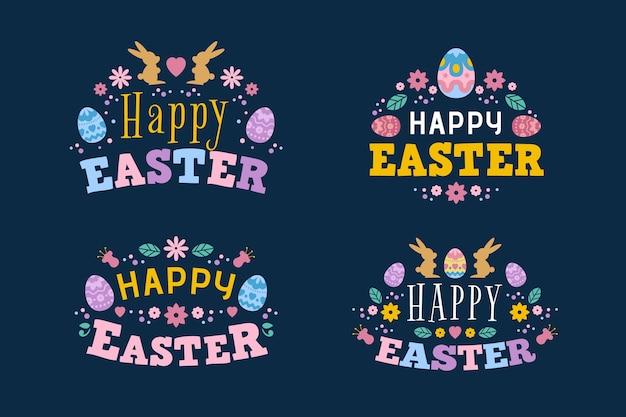 Плоский дизайн надписи пасхальный день с яйцами
