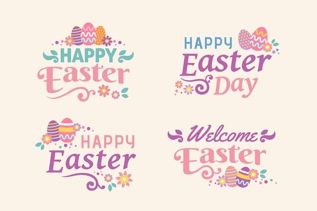 Плоский дизайн пасхальный день надписи значок с яйцами