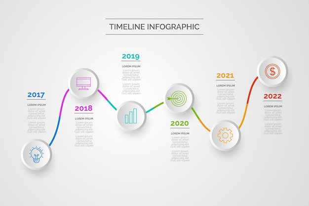 タイムラインインフォグラフィックデザイン