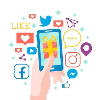 ソーシャルメディアマーケティングの携帯電話のコンセプト